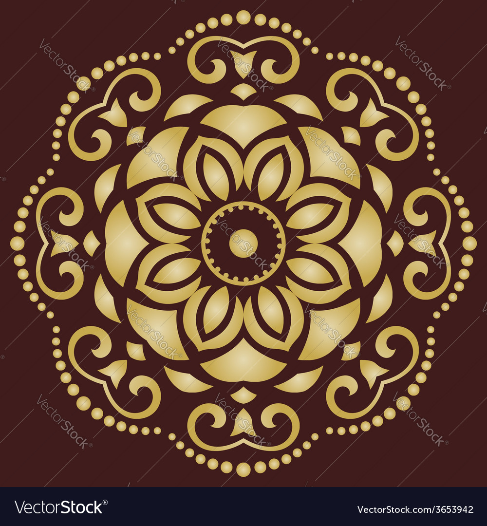 Orient pattern abstract golden ornament vector