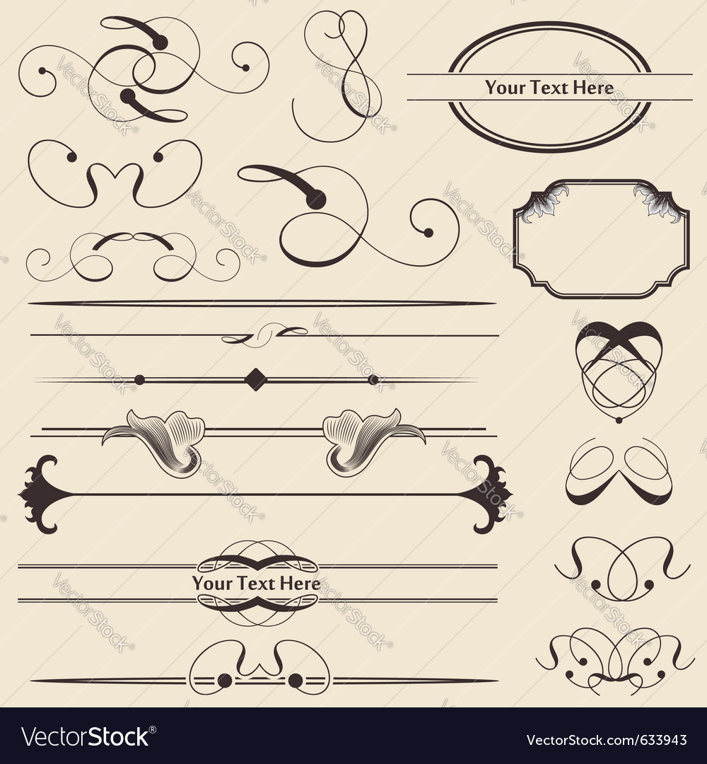 Calligraphic page decorations vector