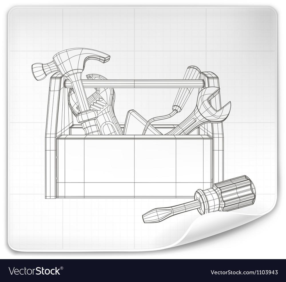 Tool box drawing vector