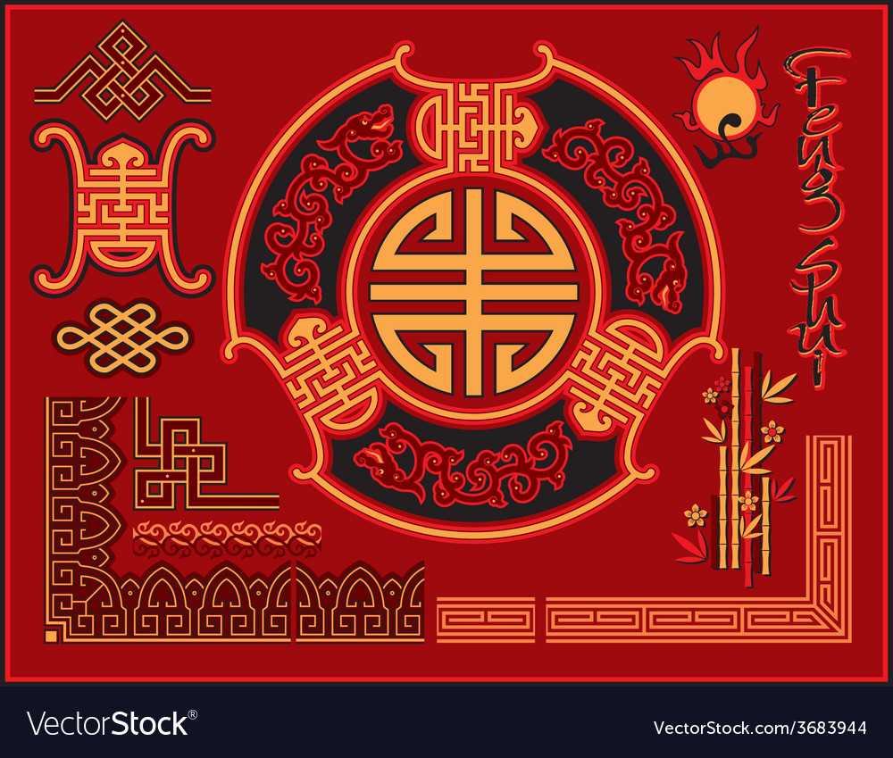 Set of chinese design elements vector