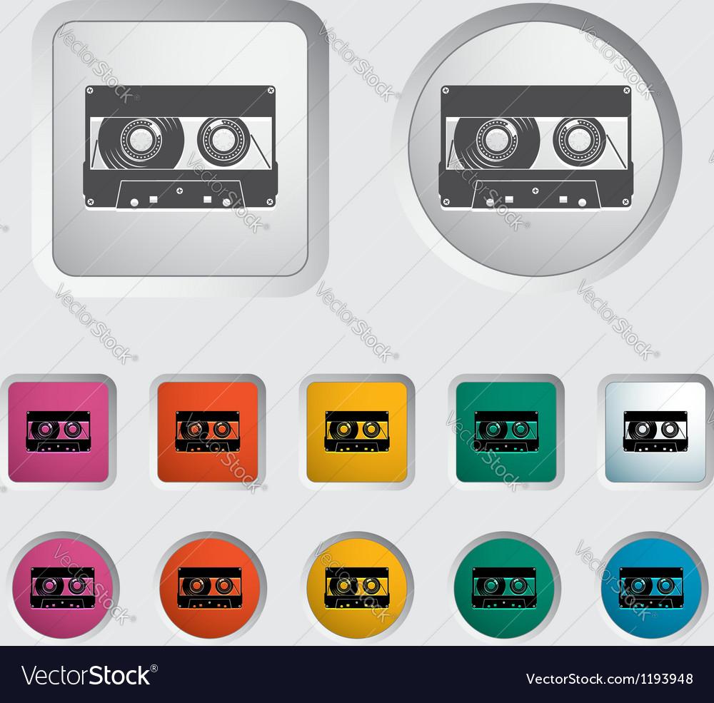 Audiocassette single icon vector