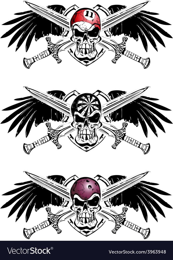 Darts bowling billiard skulls vector
