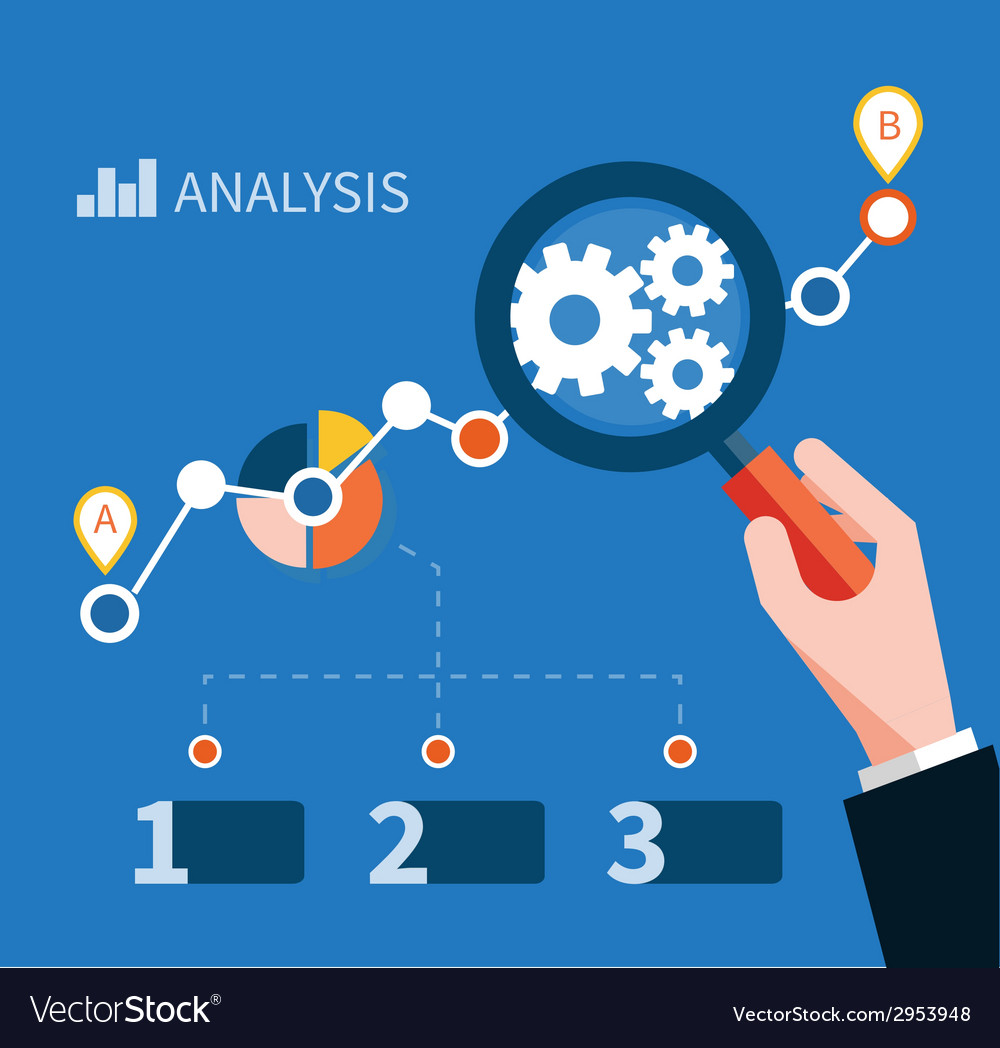 Growth chart with magnifying glass focusing on vector