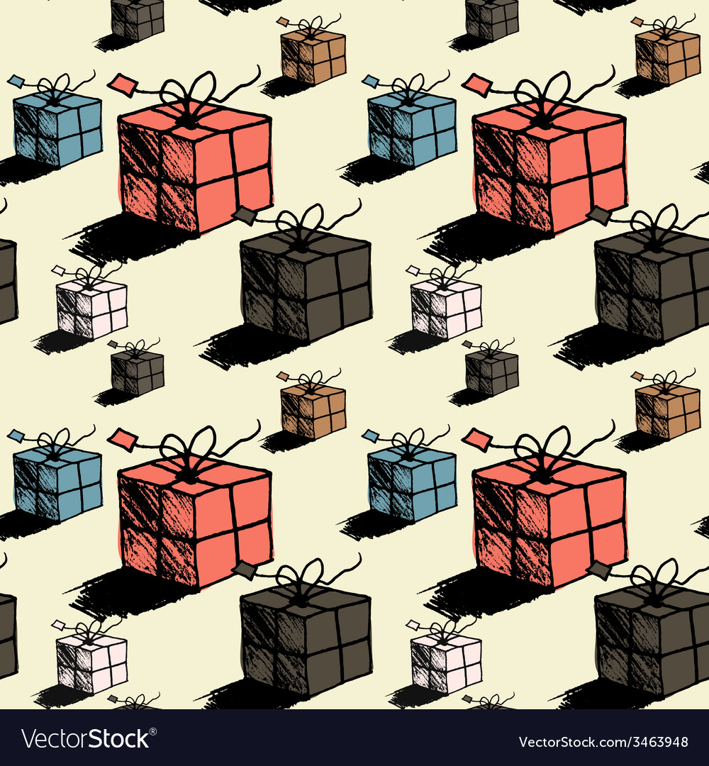 Seamless christmas gift box pattern doodle style vector