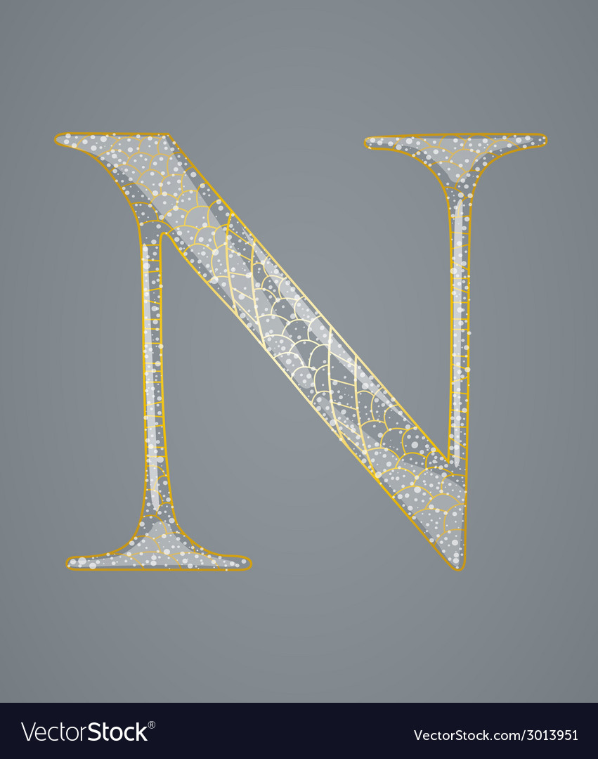 Abstract golden letter n vector