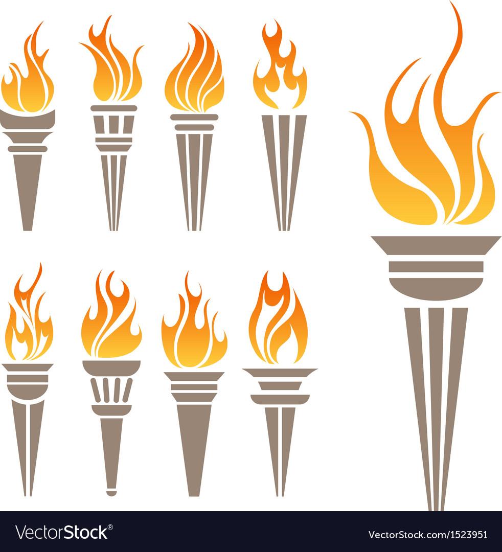 Torch symbol set vector