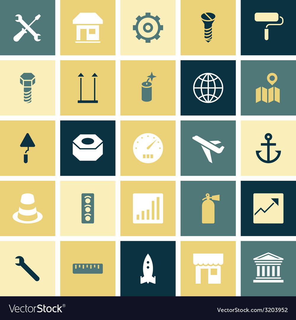 Flat design icons for industrial vector
