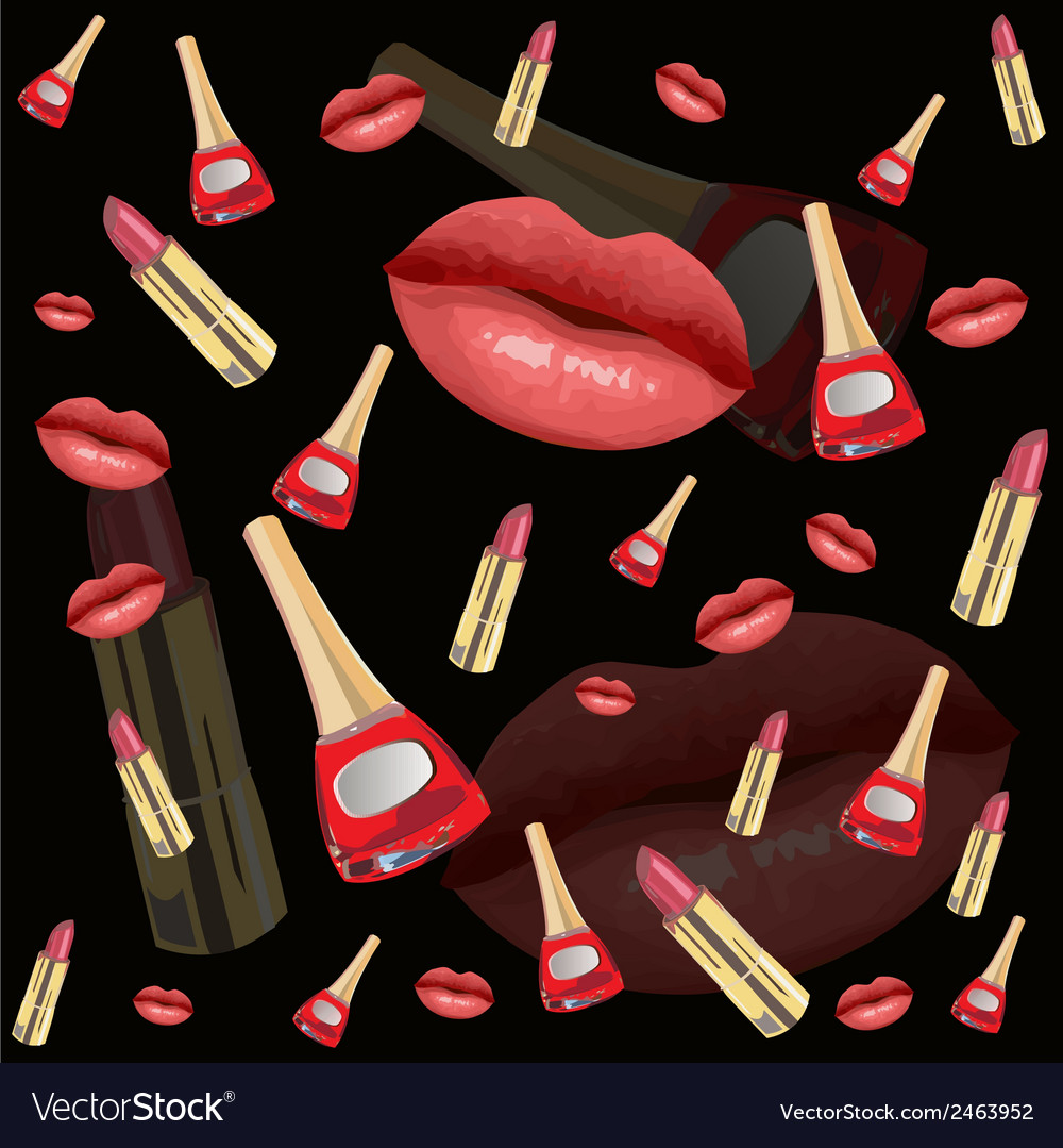 Lips seamless pattern vector