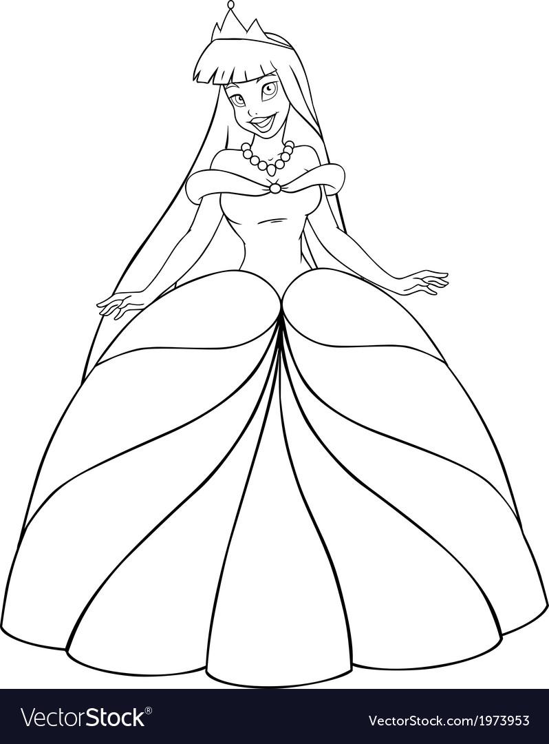 Asian princess coloring page vector