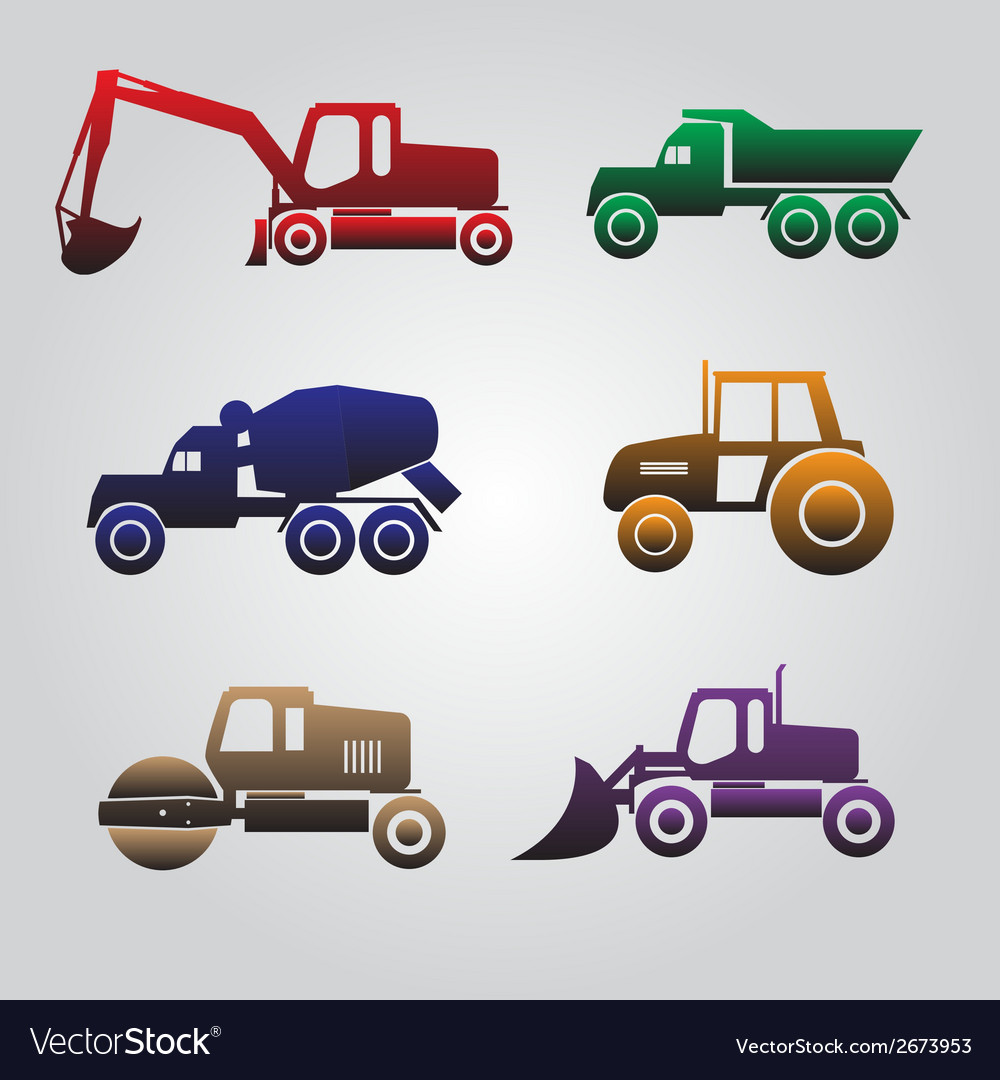 Color heavy machinery cars icons eps10 vector