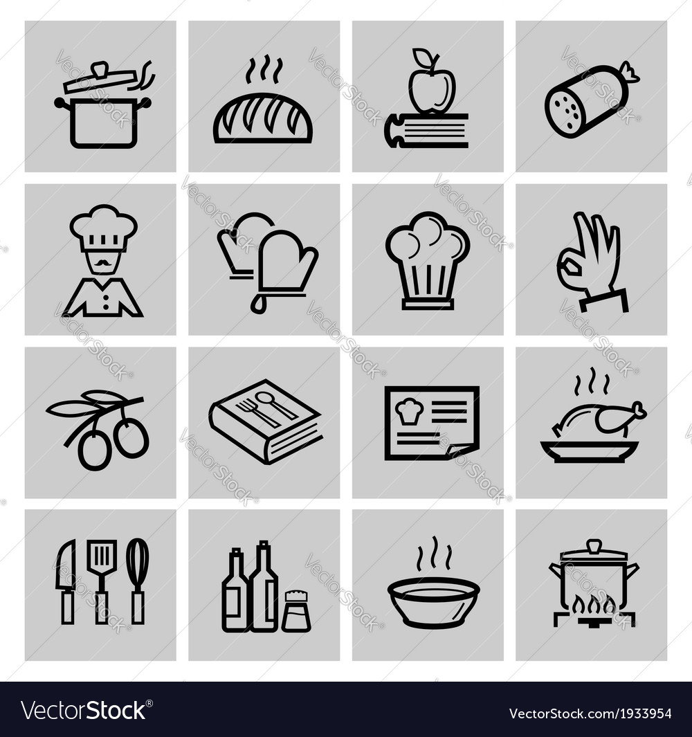 Black kitchen icons set vector