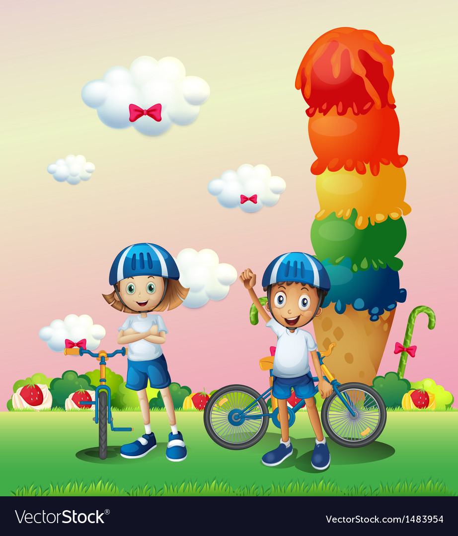 Two teenagers in a land full of sweets vector
