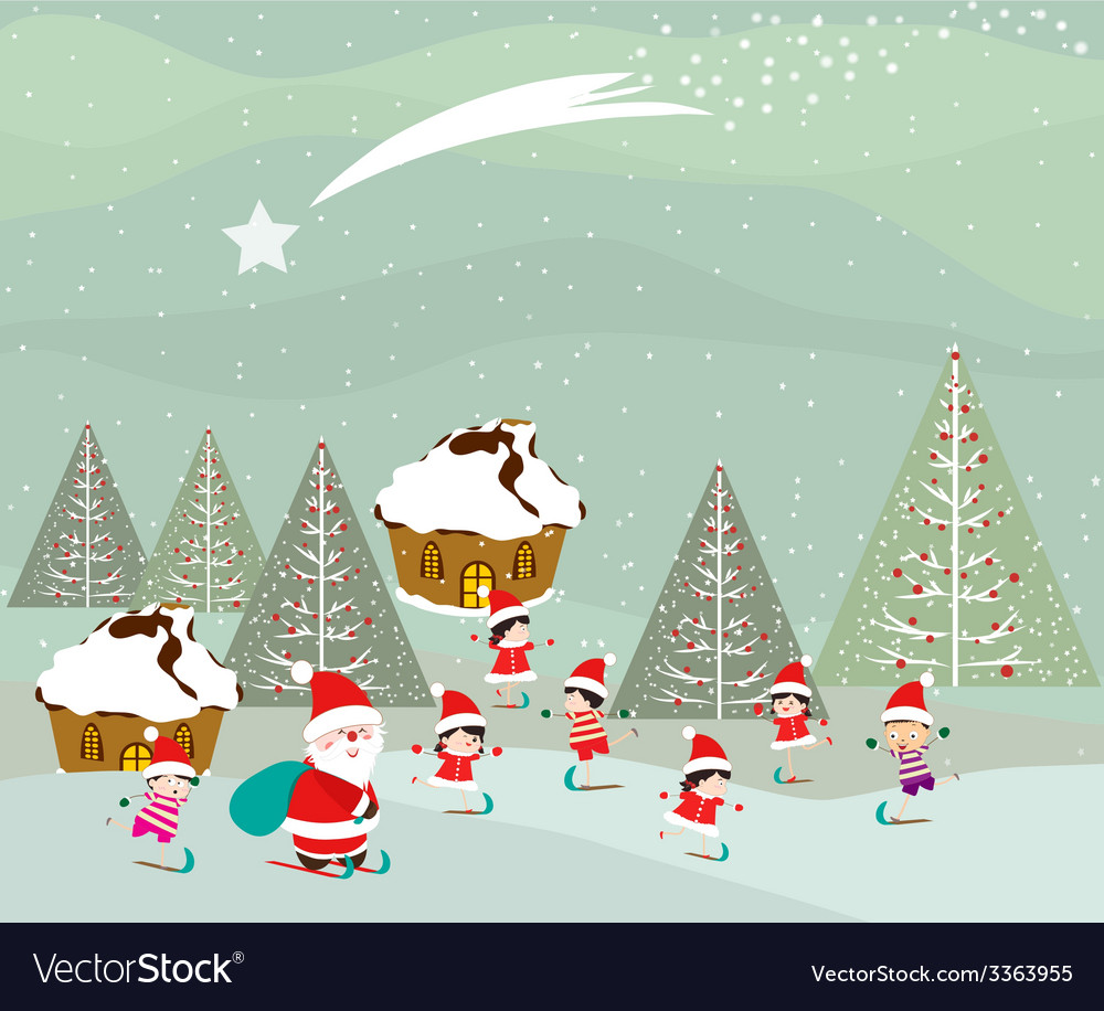 Skiing santa claus and kids on winter forest vector