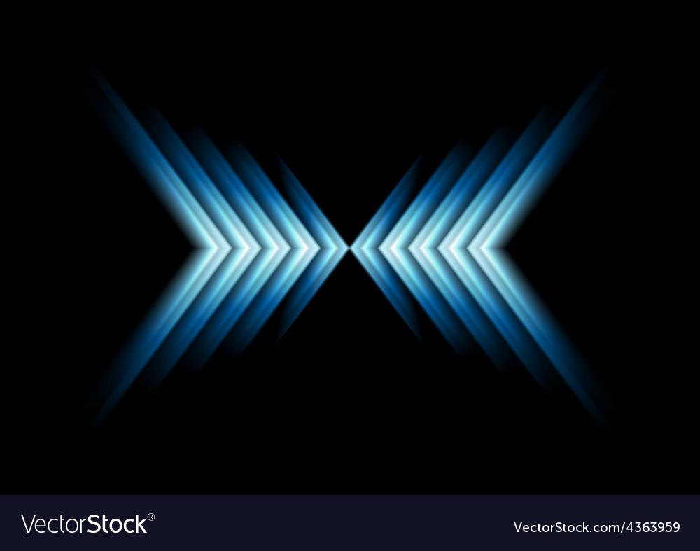 Glow blue arrows as x sumbol vector