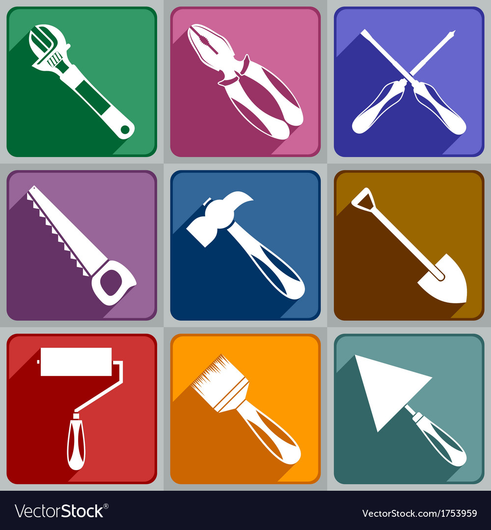 Icons of working tools vector