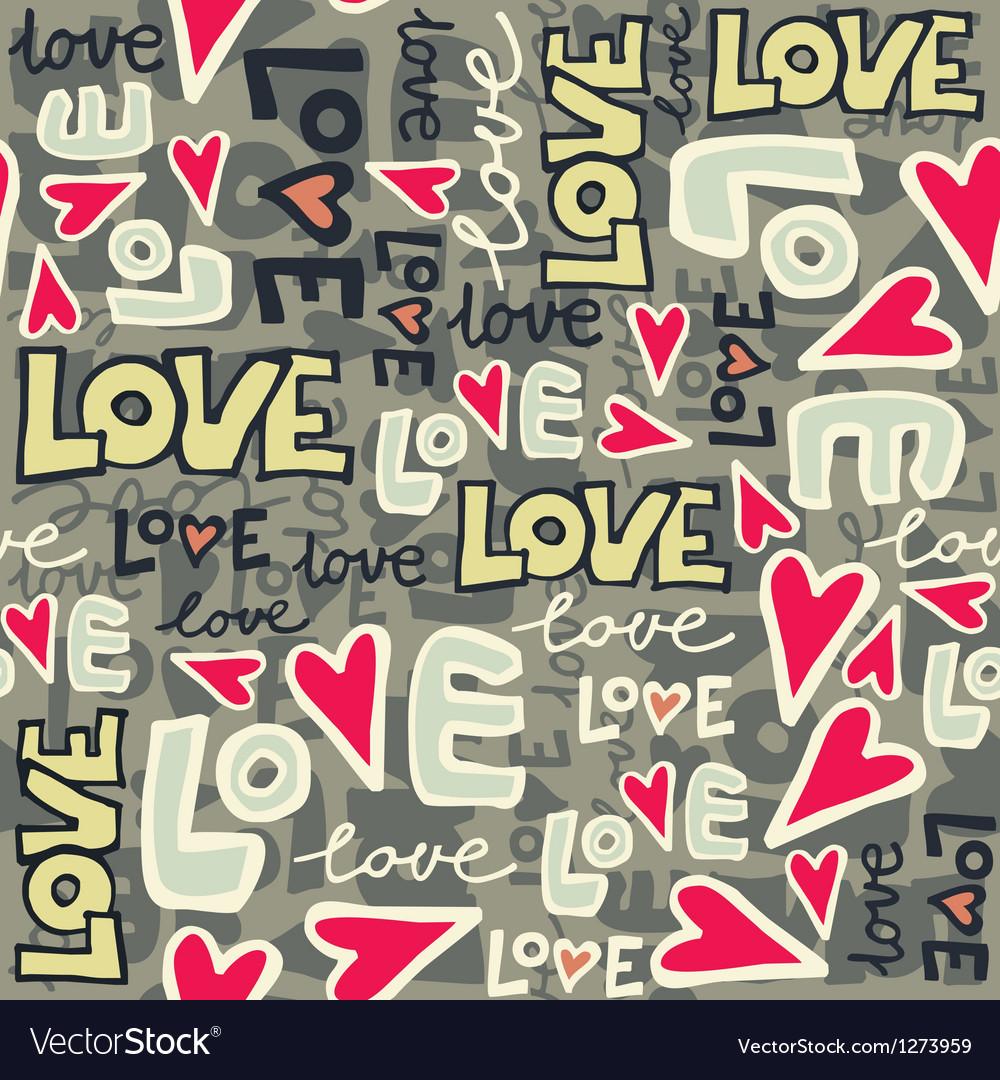 Love typography pattern vector