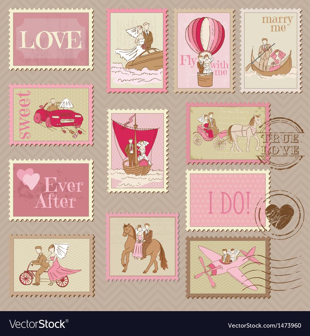 Wedding postage stamps vector