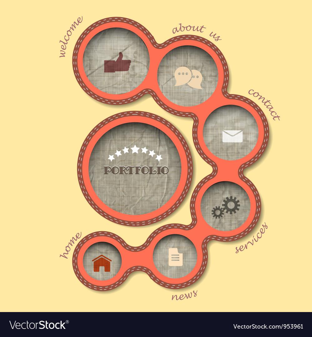 Textile web design bubbles in retro style vector