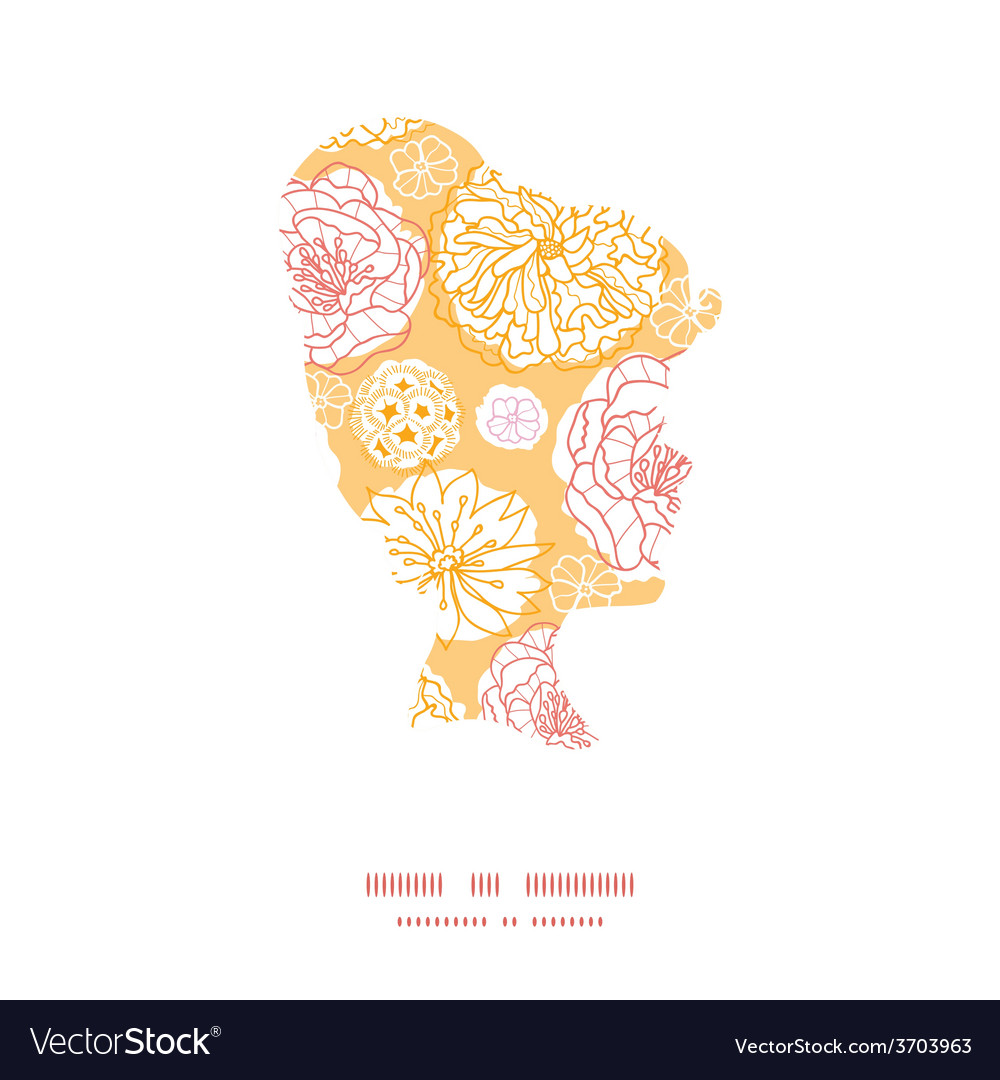 Warm day flowers girl portrait silhouette vector