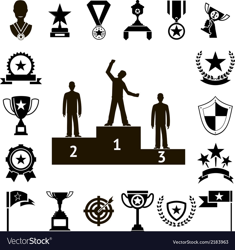 Win awards symbols and trophy silhouette icons set vector