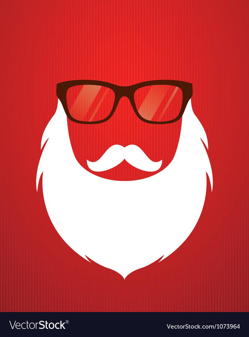 Santa beard and glasses vector