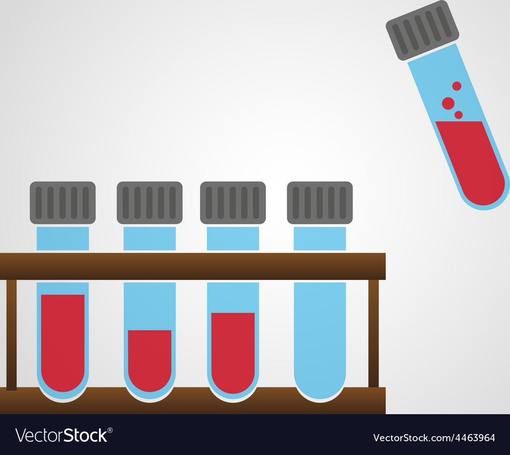 Science laboratory glass tubes with blood eps10 vector