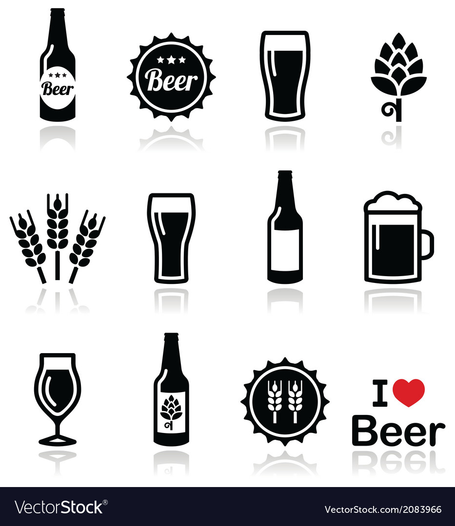 Beer icons set - bottle glass pint vector