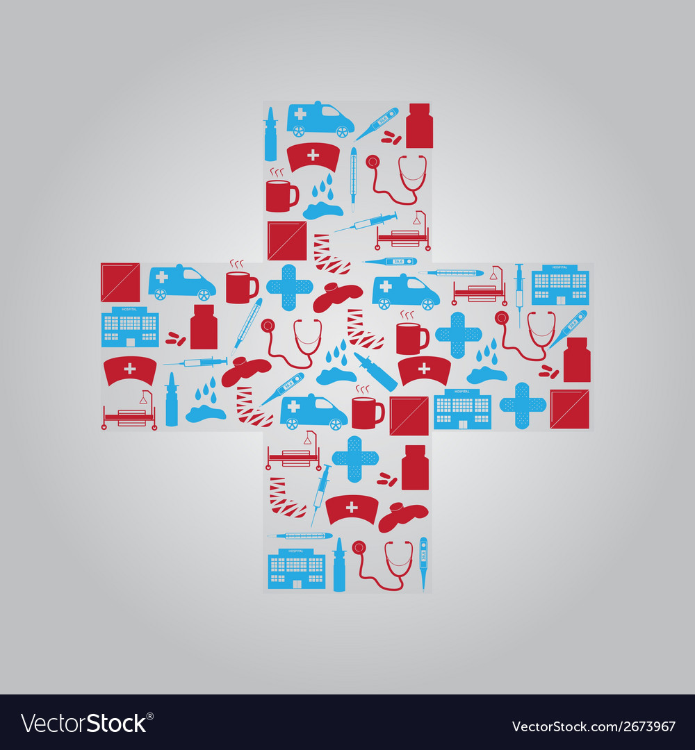 Hospital and sick icons in cross eps10 vector