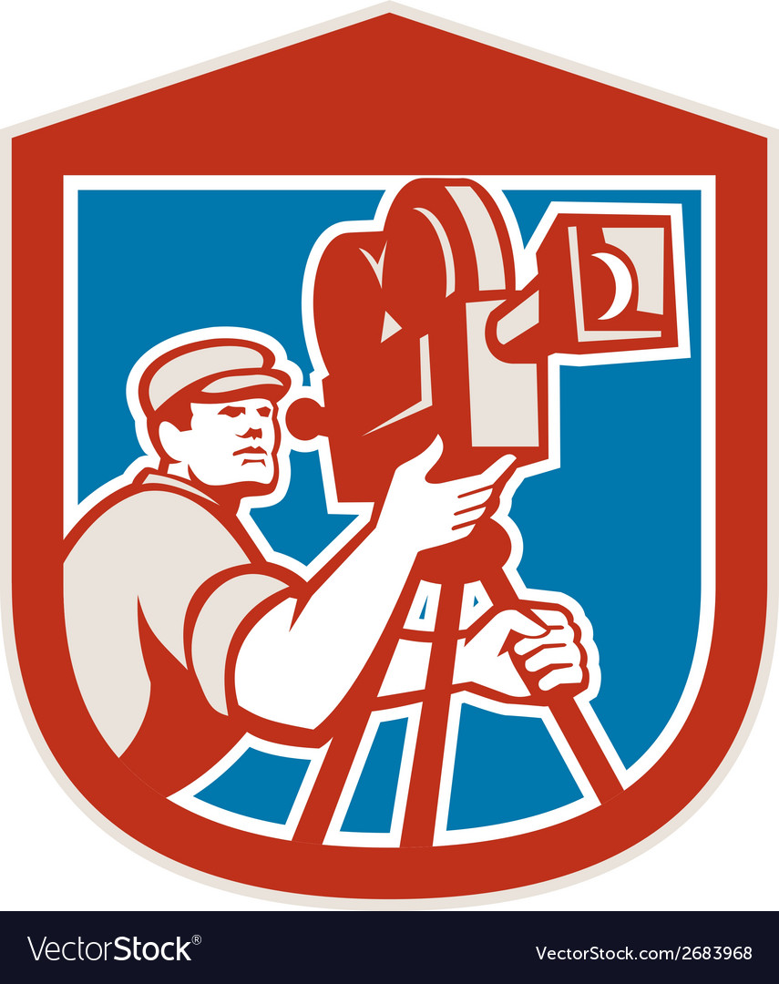 Cameraman vintage film movie camera shield retro vector