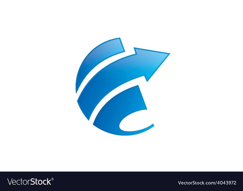 Arrow finance round loop abstract logo vector