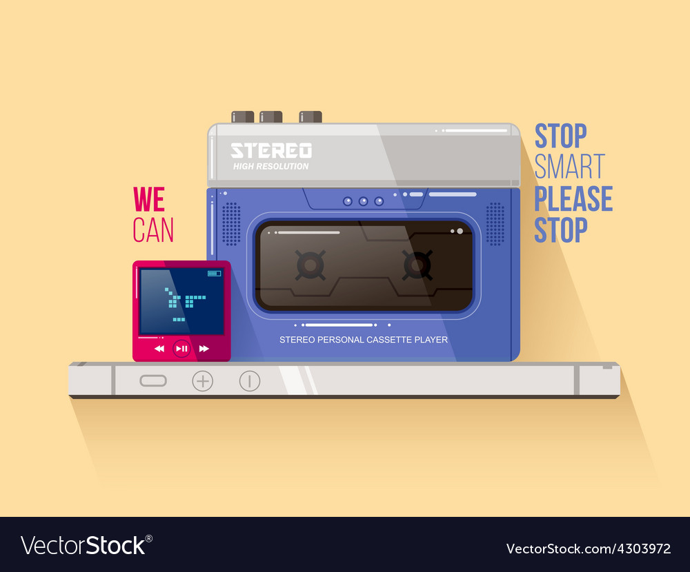 Cassette and mp3 players vs smart phone vector