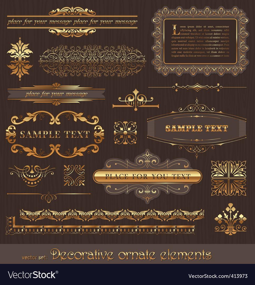 set golden page decor vector