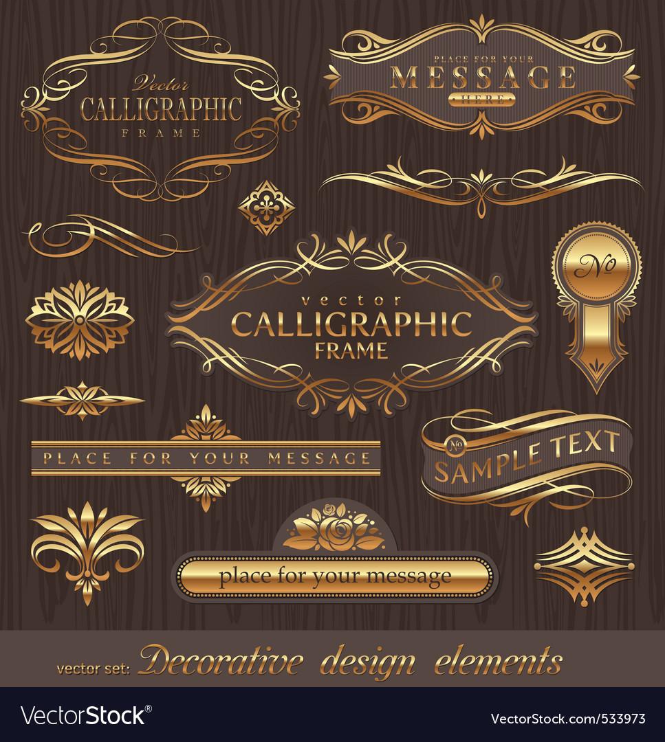 Set of golden decor elements vector