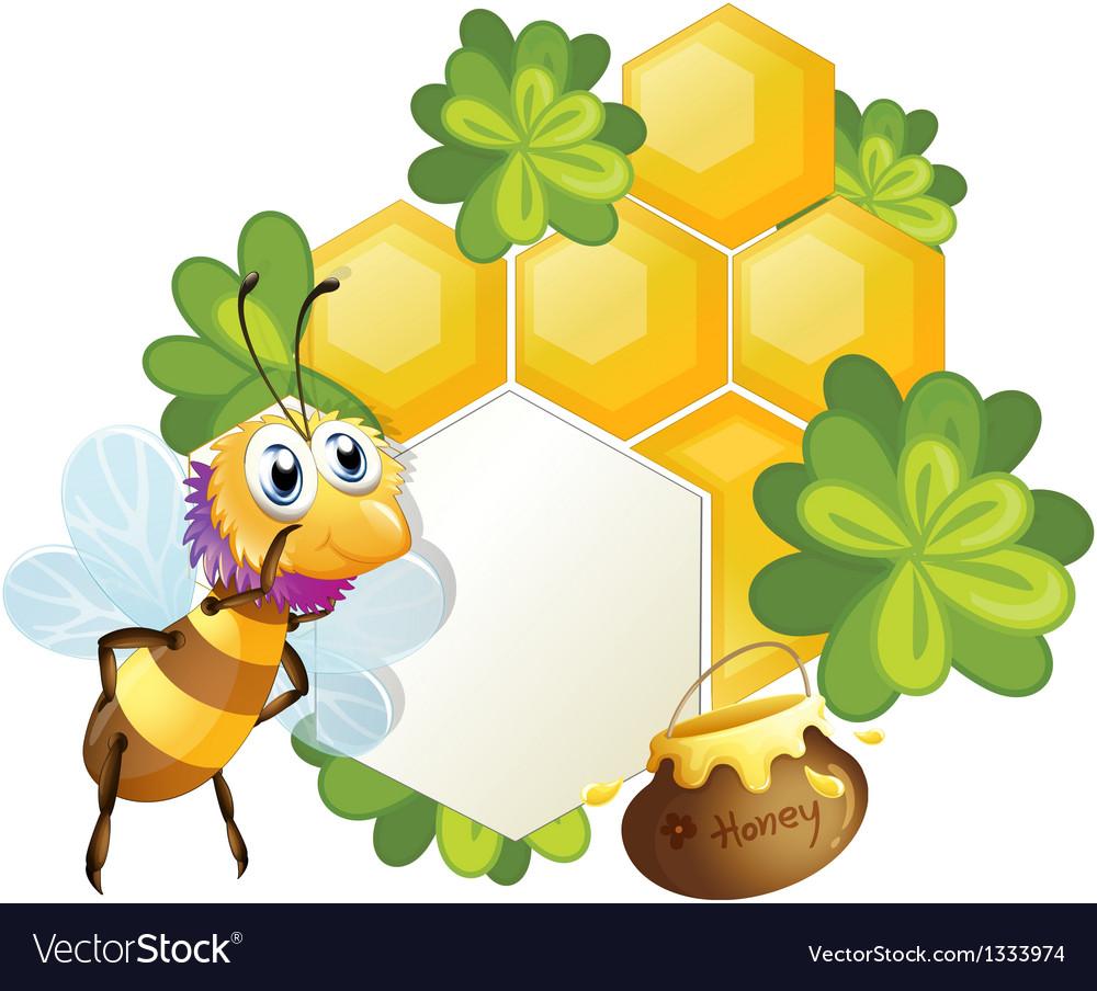 A unique border with a bee vector