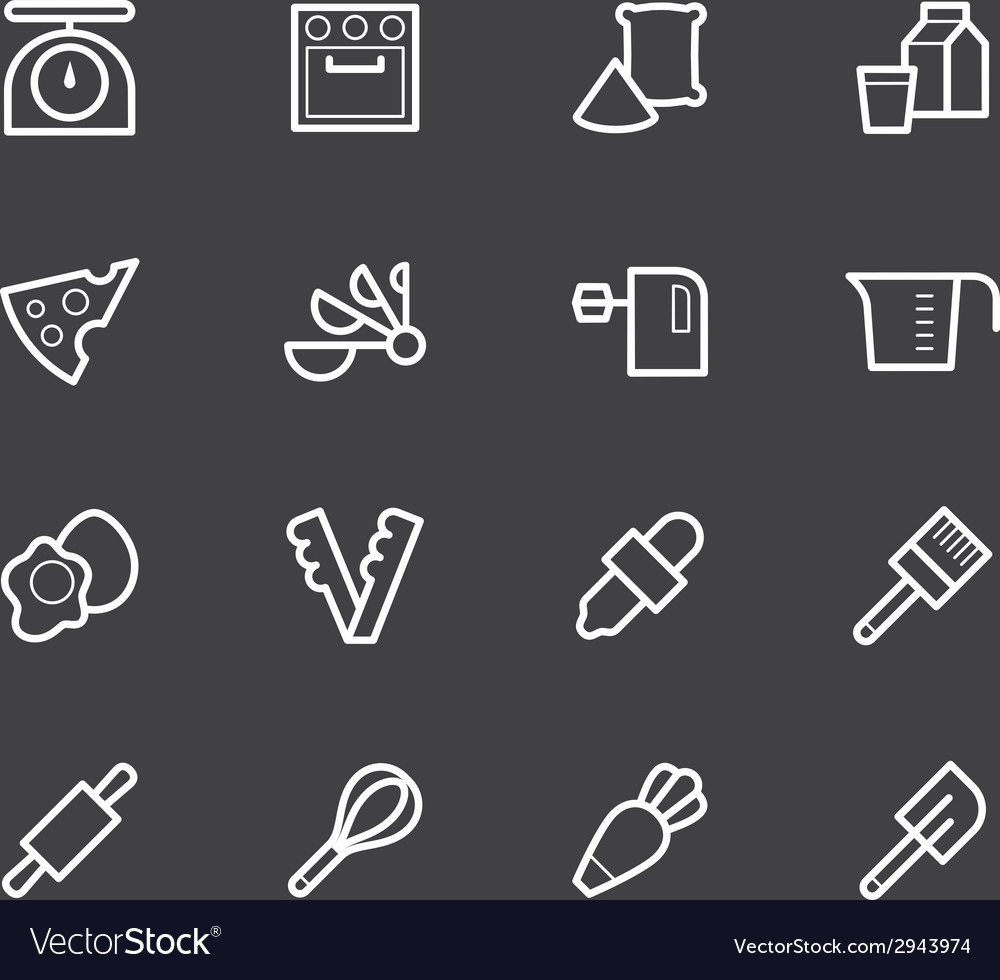 Bakery tools white icon set on black background vector