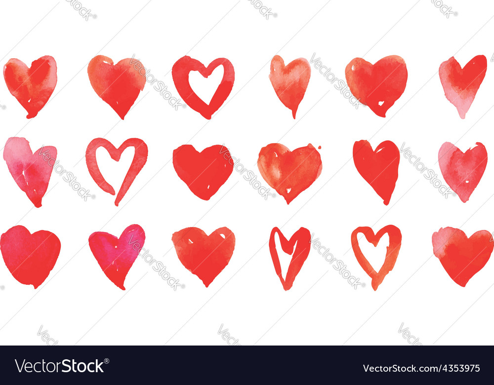 Heart watercolor set vector
