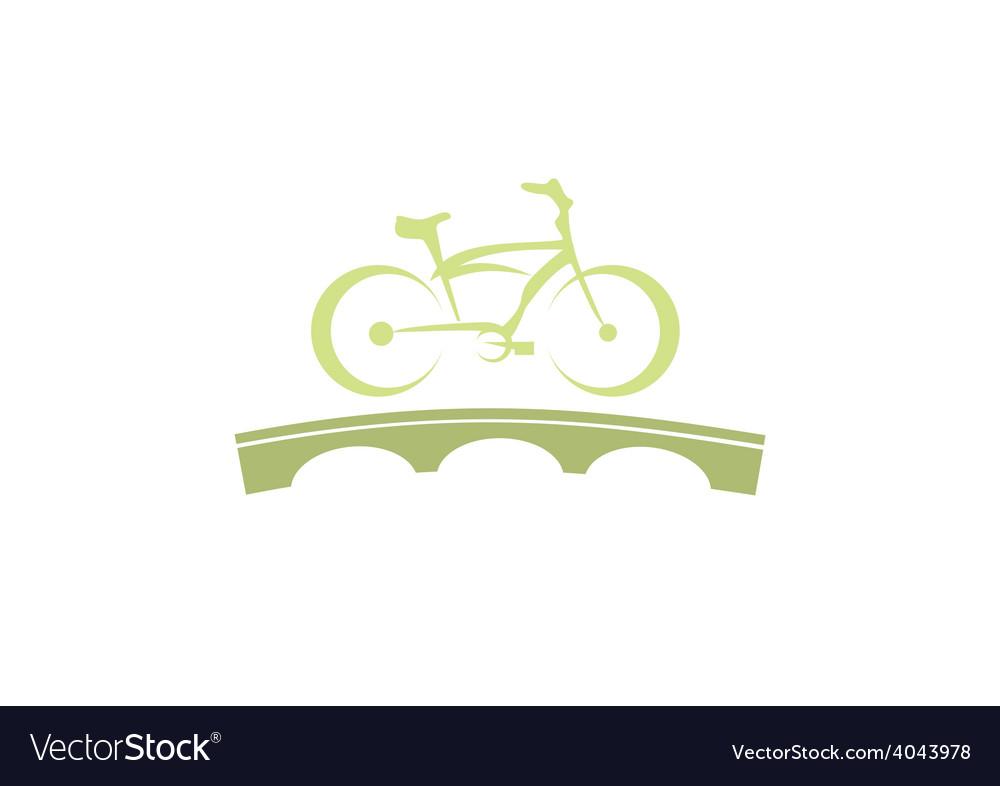 Bike abstract bridge tour logo vector