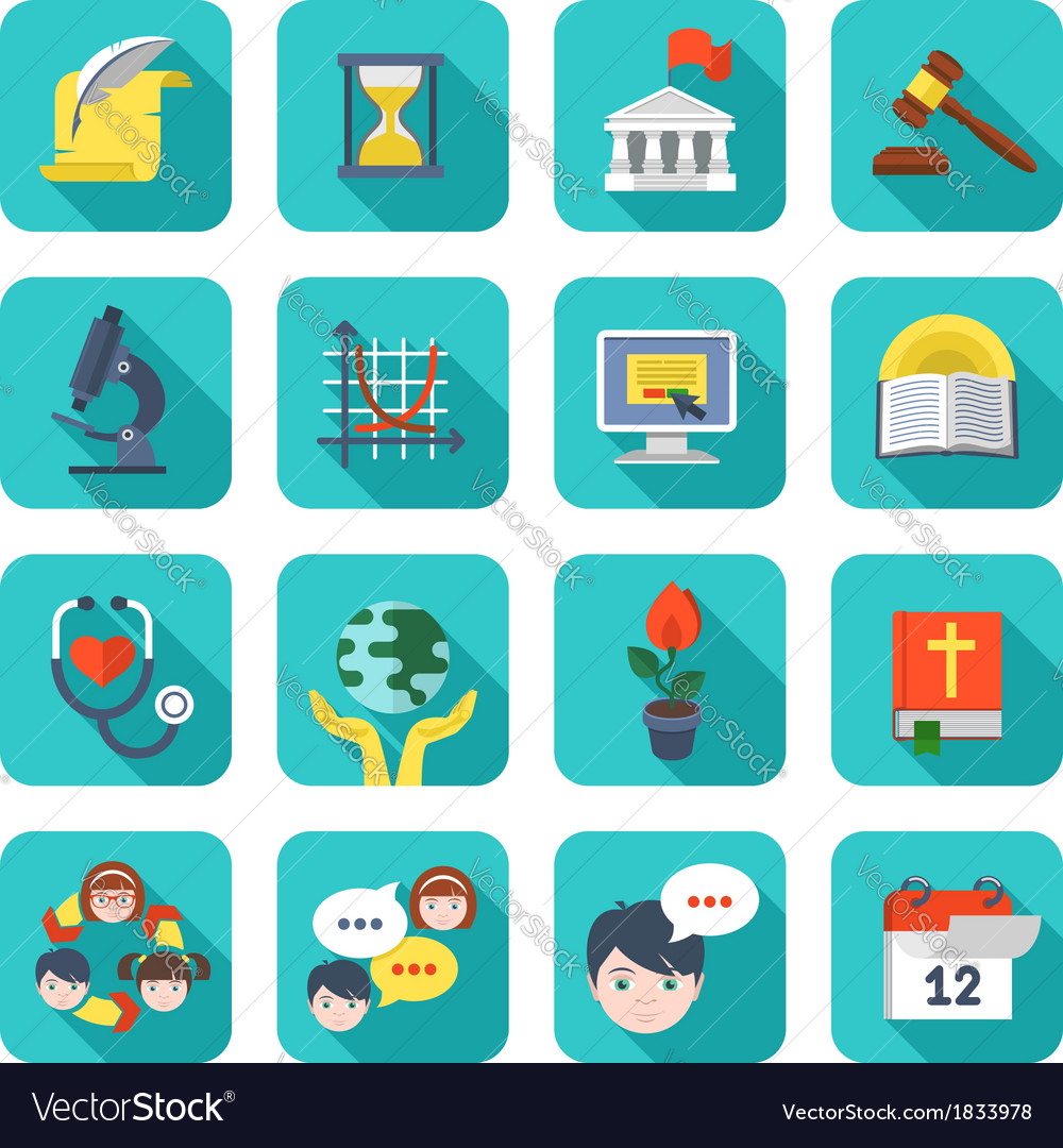 Square school icons set vector