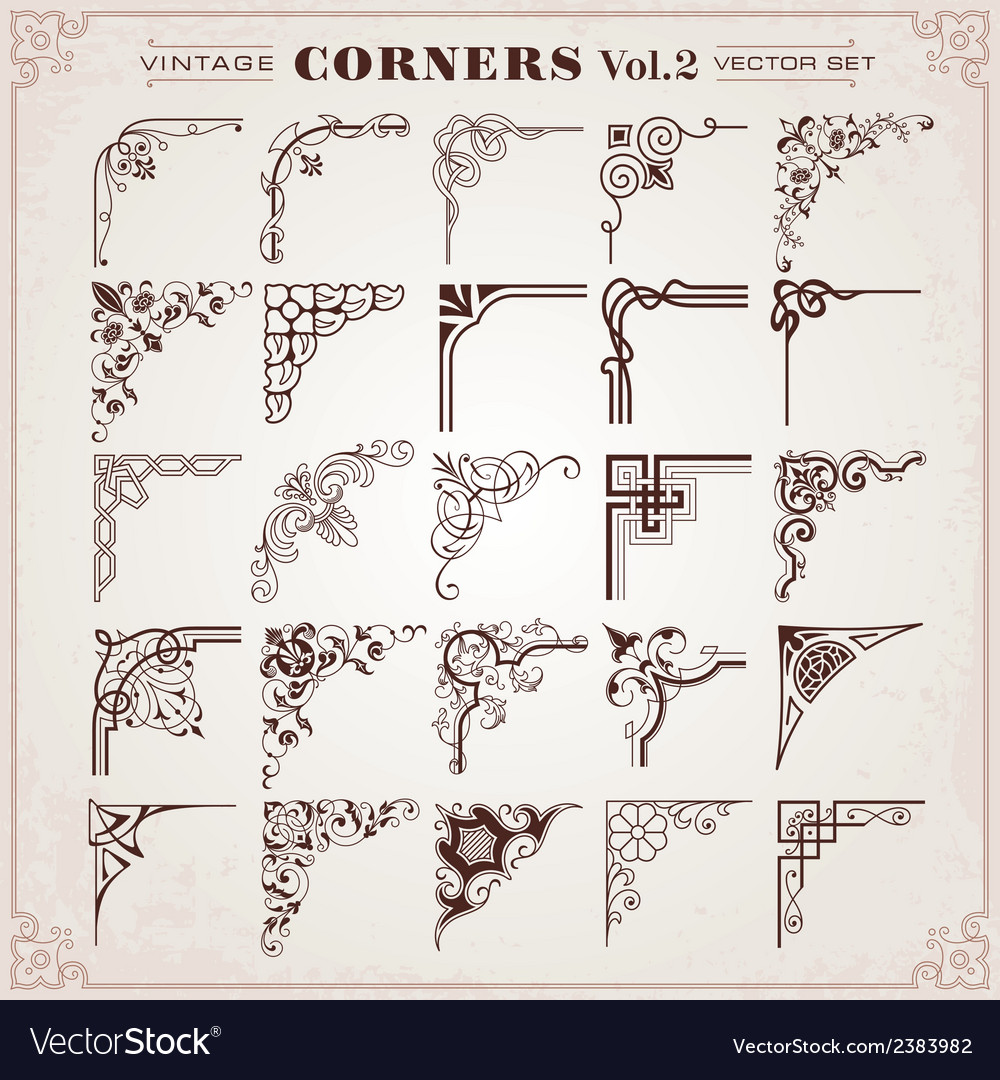 Vintage corners and borders vector