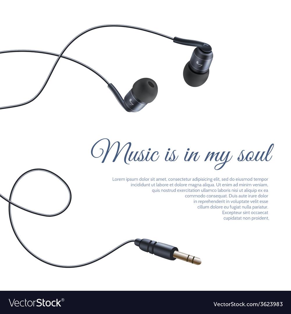 Realistic headphones poster vector