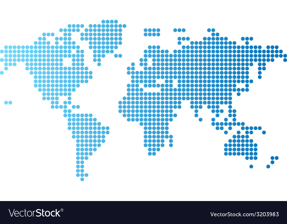 World map of blue round dots vector