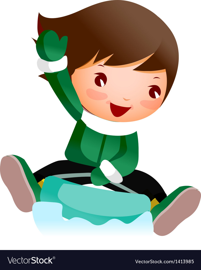Close-up of boy skiing on snow vector