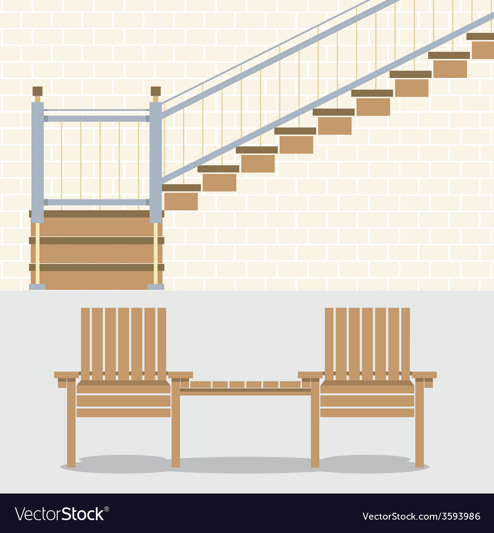 Interior bricks wall with stairs and wooden chairs vector