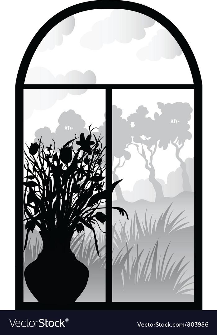 Silhouette of retro window vector