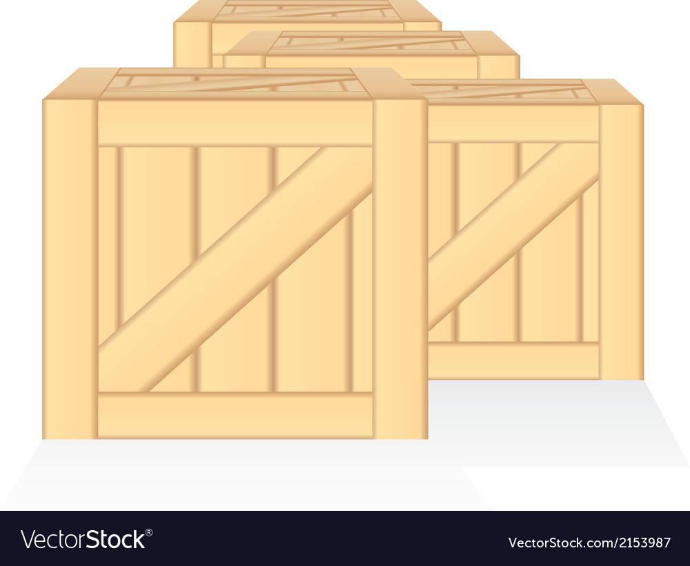 Wood box isolated vector