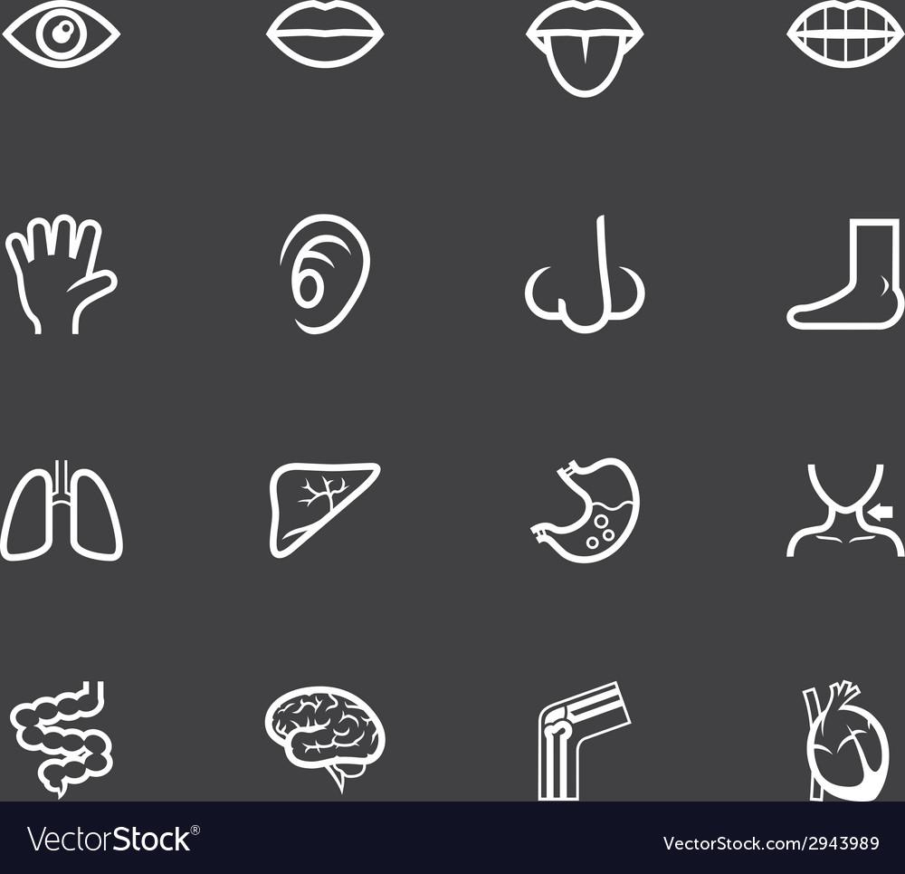 Body white icon set on black background vector