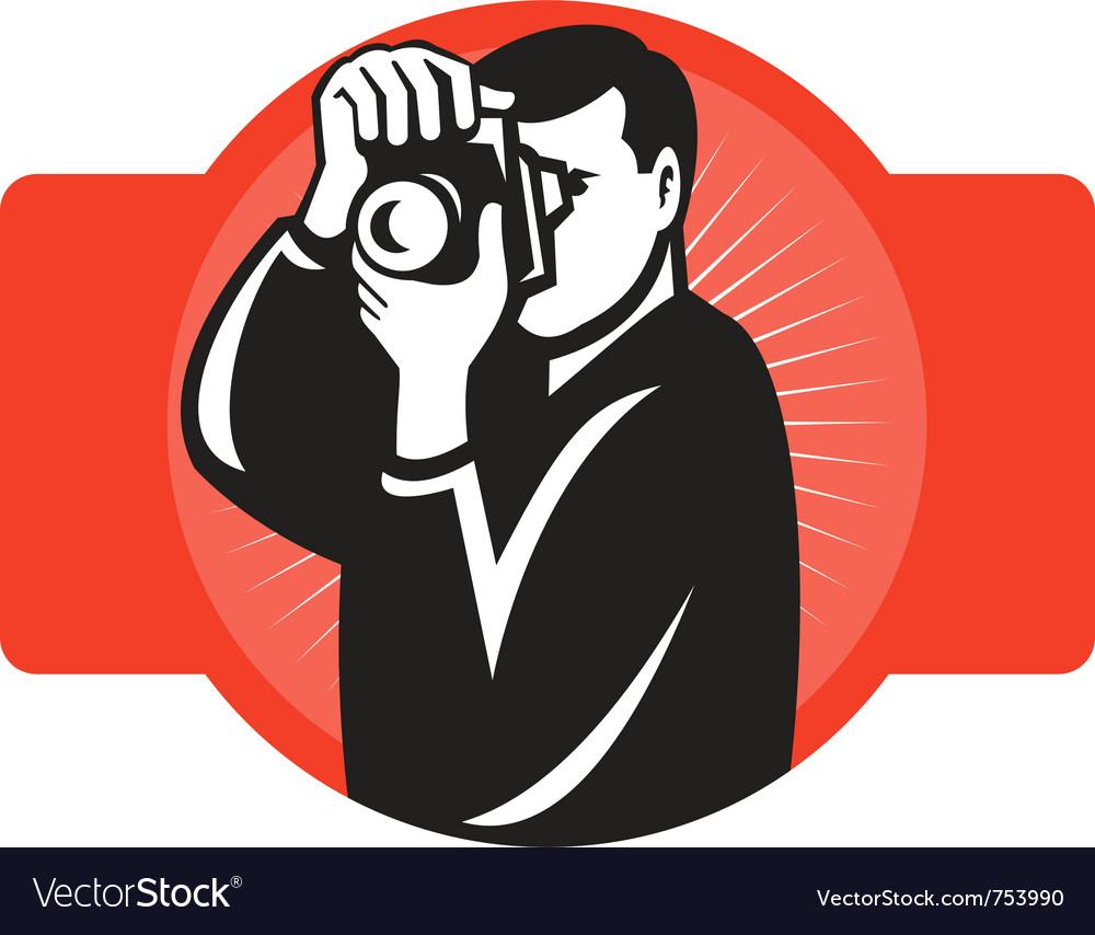 Photographer aiming slr camera vector