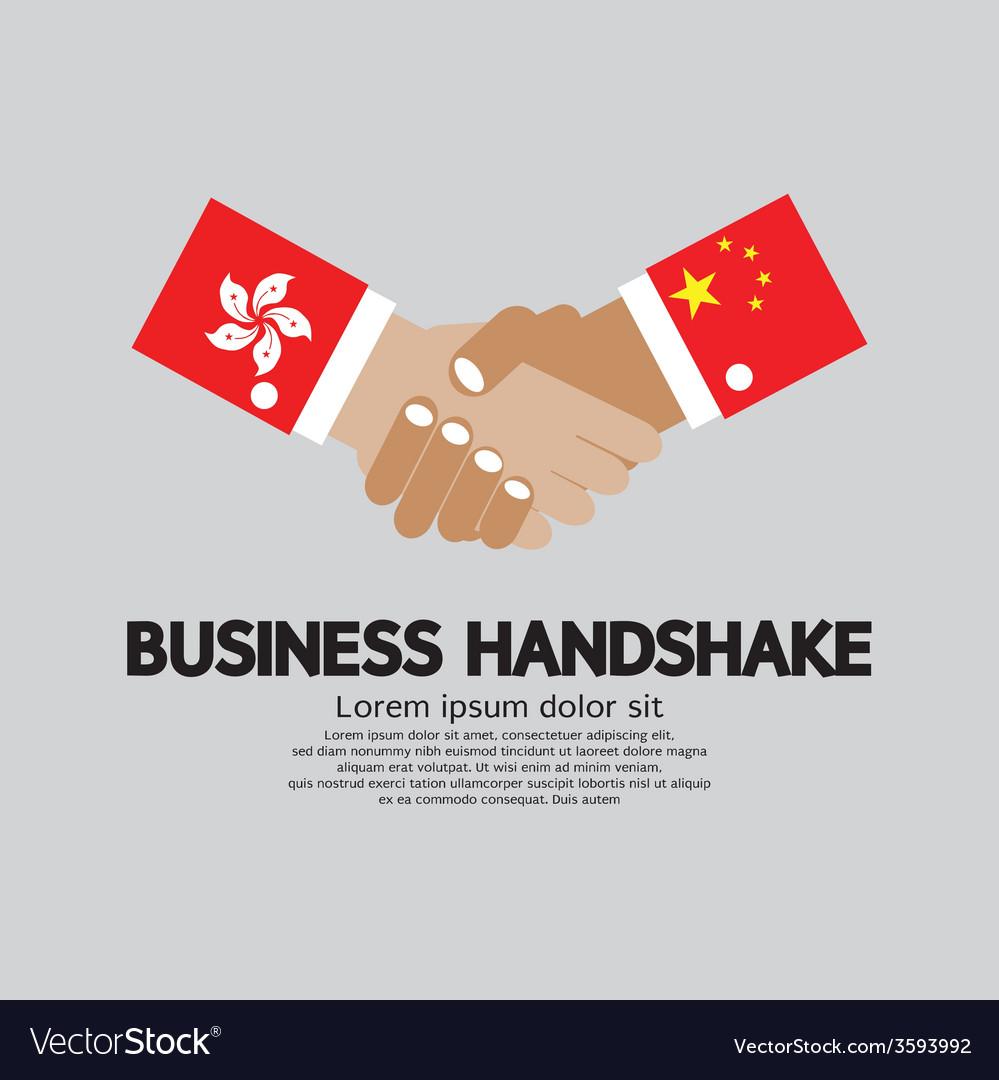 Business handshake hongkong and china vector