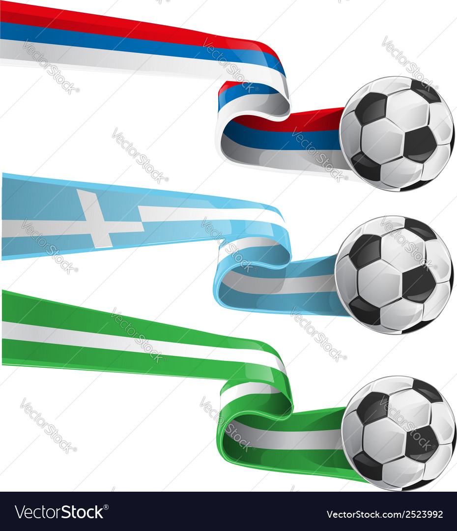 Nigeria greek and russian flag with soccer ball vector