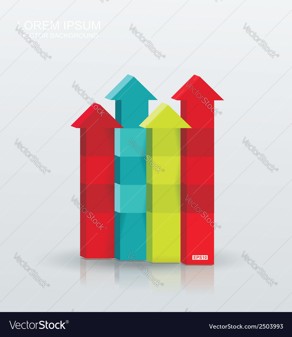 Arrow rising toward same direction success concept vector
